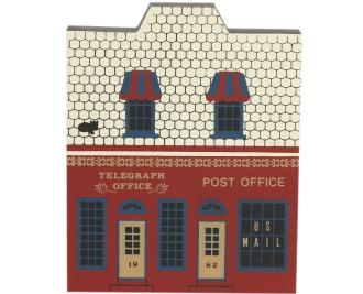 "Vintage Telegraph Office & Post Office from Main Street Series handcrafted from 3/4"" thick wood by The Cat's Meow Village in the USA"