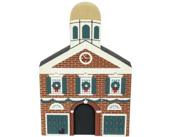"Vintage The Head House from Philadelphia Christmas Series handcrafted from 3/4"" thick wood by The Cat's Meow Village in the USA"