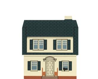 "Vintage The Puritan House from Series VIII handcrafted from 3/4"" thick wood by The Cat's Meow Village in the USA"