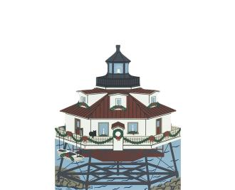 "Vintage Thomas Point Light from Annapolis Christmas Series handcrafted from 3/4"" thick wood by The Cat's Meow Village in the USA"
