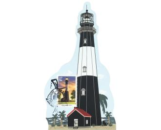 """Tybee Island Lighthouse w/ USPS Lighthouse Stamp from Southeastern Lighthouse Series handcrafted from 3/4"""" thick wood by The Cat's Meow Village in the USA"""