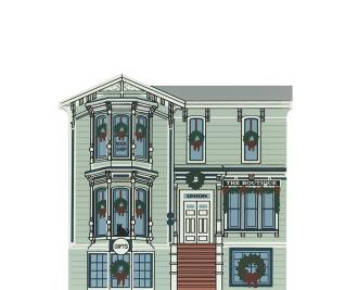 """Vintage Union Street Boutique from San Francisco Christmas Series handcrafted from 3/4"""" thick wood by The Cat's Meow Village in the USA"""