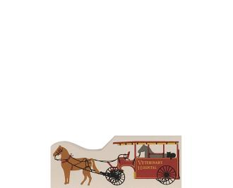 "Vintage Veterinary Hospital Wagon from Accessories handcrafted from 1/2"" thick wood by The Cat's Meow Village in the USA"