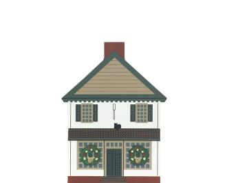 "Vintage Waters Storehouse from Traditional Williamsburg Christmas Series handcrafted from 3/4"" thick wood by The Cat's Meow Village in the USA"