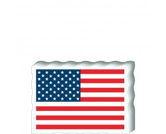 "USA Flag Postcard Front handcrafted from 3/4"" thick wood by The Cat's Meow Village in the USA"