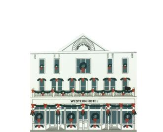 "Vintage Western Hotel from Rocky Mountain Christmas Series handcrafted from 3/4"" thick wood by The Cat's Meow Village in the USA"
