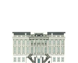 "Vintage The White House from Washington D.C. Series handcrafted from 3/4"" thick wood by The Cat's Meow Village in the USA"
