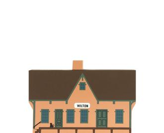 """Vintage Wilton Railway Depot from Liberty Street Series handcrafted from 3/4"""" thick wood by The Cat's Meow Village in the USA"""