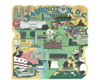 "Add this oversized Washington, D.C. map to your home decor to shout out your state pride. Handcrafted of 3/4"" thick wood by The Cat's Meow Village in the USA."