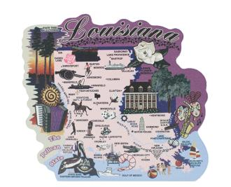 """Add this oversized Louisiana map to your home decor to shout out your state pride. Handcrafted of 3/4"""" thick wood by The Cat's Meow Village in the USA."""
