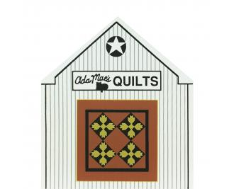 "Vintage Ada Mae's Quilt Barn from Ohio Amish Series handcrafted from 3/4"" thick wood by The Cat's Meow Village in the USA"