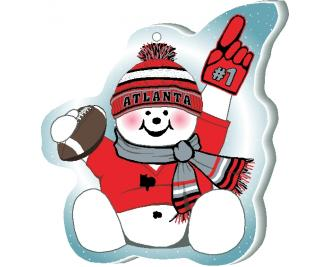 "With football and #1 foam hand, our Atlanta snowman is cheering on his team in all team colors. Handcrafted by The Cat's Meow Village of 1/4"" thick wood, in the USA."