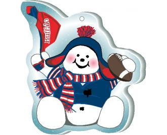 "Waving his team spirit towel and cheering on his team, Buffalo, this snowman is handcrafted of 1/4"" thick wood by The Cat's Meow Village in the USA."