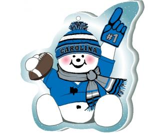 "With football and #1 foam hand, our Carolina snowman is cheering on his team in all team colors. Handcrafted by The Cat's Meow Village of 1/4"" thick wood, in the USA."