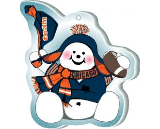 "Waving his team spirit towel and cheering on his team, Chicago, this snowman is handcrafted of 1/4"" thick wood by The Cat's Meow Village in the USA."