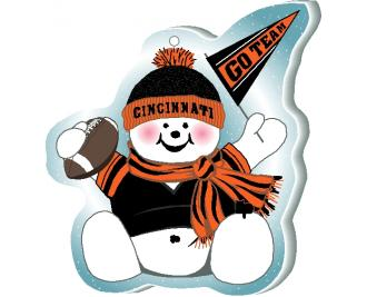 "Cheer on your Cincinnati team with this adorable snowman ornament waving his Go Team pennant, handcrafted in 1/4"" thick wood by The Cat's Meow Village. Made in the USA!"