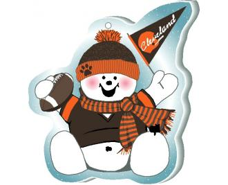 "Cheer on your Cleveland team with this adorable snowman ornament waving his Cleveland pennant, handcrafted in 1/4"" thick wood by The Cat's Meow Village. Made in the USA!"