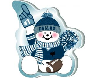 "Grab your pompom and cheer on your Dallas team with this adorable ornament, handcrafted in 1/4"" thick wood by The Cat's Meow Village. Made in the USA!"