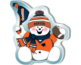 "Waving his team spirit towel and cheering on his team, Denver, this snowman is handcrafted of 1/4"" thick wood by The Cat's Meow Village in the USA."