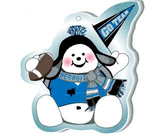 "Cheer on your Detroit team with this adorable snowman ornament waving his Go Team pennant, handcrafted in 1/4"" thick wood by The Cat's Meow Village. Made in the USA!"