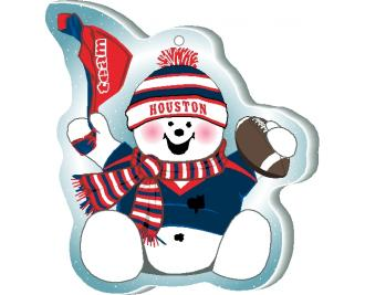 "Waving his team spirit towel and cheering on his team, Houston, this snowman is handcrafted of 1/4"" thick wood by The Cat's Meow Village in the USA."