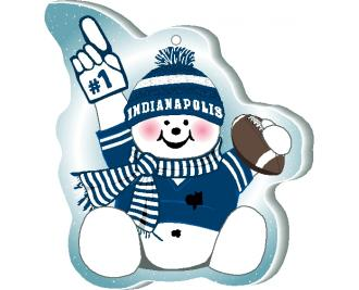 "With football and #1 foam hand, our Indianapolis snowman is cheering on his team in all team colors. Handcrafted by The Cat's Meow Village of 1/4"" thick wood, in the USA."