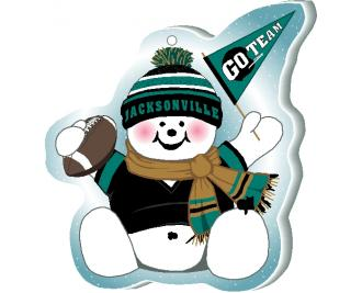 "Cheer on your Jacksonville team with this adorable snowman ornament waving his Go Team pennant, handcrafted in 1/4"" thick wood by The Cat's Meow Village. Made in the USA!"