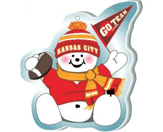 "Cheer on your Kansas City team with this adorable snowman ornament waving his Go Team pennant, handcrafted in 1/4"" thick wood by The Cat's Meow Village. Made in the USA!"
