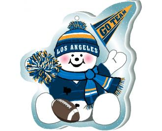 "Cheer on your Los Angeles team with this adorable snowman ornament waving his Go Team pennant, handcrafted in 1/4"" thick wood by The Cat's Meow Village. Made in the USA!"