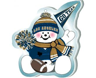 """Grab your pompom and cheer on your Los Angeles team with this adorable ornament, handcrafted in 1/4"""" thick wood by The Cat's Meow Village. Made in the USA!"""