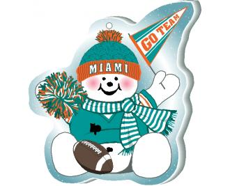 "Cheer on your Miami team with this adorable ornament, handcrafted in 1/4"" thick wood by The Cat's Meow Village. Made in the USA!"