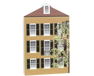 "Add this wooden replica of this Rainbow Row house to your home decor to celebrate the day you laid your eyes on this beautiful row of pastel houses known as Rainbow Row in Charleston, SC. Handcrafted in the USA by The Cat's Meow Village of 3/4"" thick wood."
