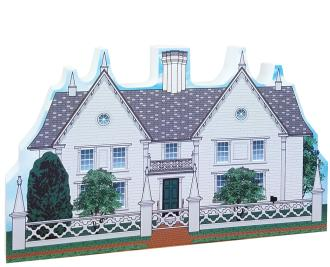 Wooden replica of The Pickering House, Salem, Mass. Handcrafted in the USA by The Cat's Meow Village.