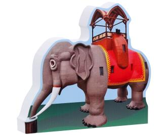 "Handcrafted 3/4"" thick wooden replica of Lucy the Elephant located in Margate City, New Jersey"