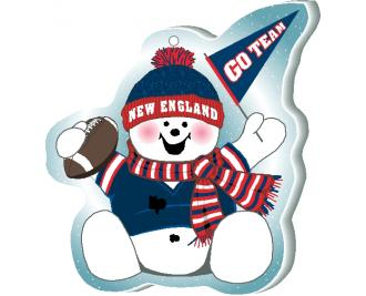 "Cheer on your New England team with this adorable snowman ornament waving his Go Team pennant, handcrafted in 1/4"" thick wood by The Cat's Meow Village. Made in the USA!"