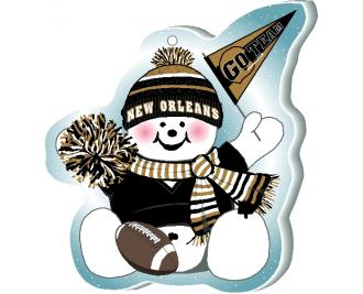"Grab your pompom and cheer on your New Orleans team with this adorable ornament, handcrafted in 1/4"" thick wood by The Cat's Meow Village. Made in the USA!"