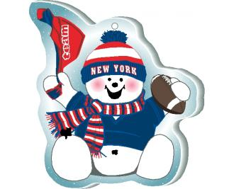 "Waving his team spirit towel and cheering on his team, New York, Red White & Blue this snowman is handcrafted of 1/4"" thick wood by The Cat's Meow Village in the USA."