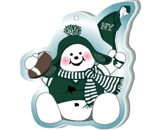 "Waving his team spirit towel and cheering on his team, New York, this snowman is handcrafted of 1/4"" thick wood by The Cat's Meow Village in the USA."