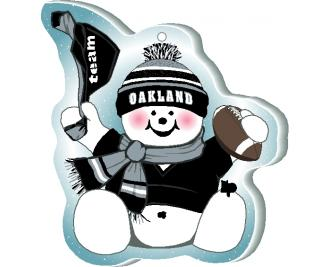 "Waving his team spirit towel and cheering on his team, Oakland, this snowman is handcrafted of 1/4"" thick wood by The Cat's Meow Village in the USA."
