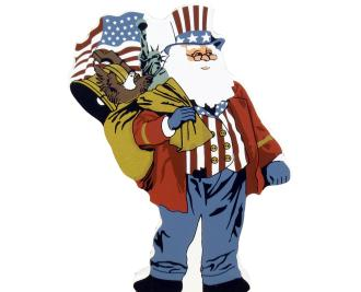 patriotic, santa, US flag, uncle sam, statue of liberty