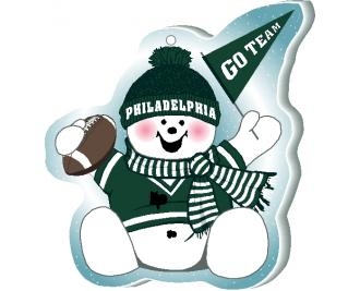 "Cheer on your Philadelphia team with this cute snowman ornament waving his Go Team pennant, handcrafted in 1/4"" thick wood by The Cat's Meow Village. Made in the USA!"
