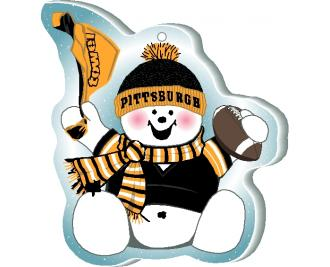 "Waving his team spirit towel and cheering on his team, Pittsburgh, this snowman is handcrafted of 1/4"" thick wood by The Cat's Meow Village in the USA."