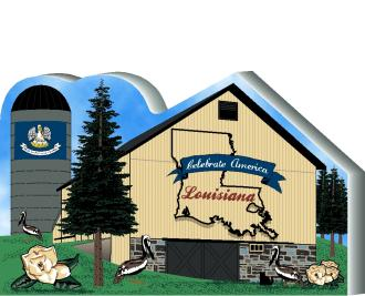 Cat's Meow Village handcrafted wooden barn keepsake representing the state of Louisiana
