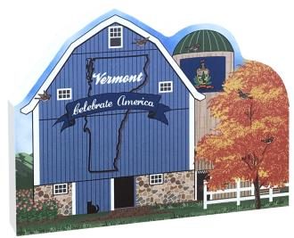 Show your state pride with this Vermont state barn. We've included all the state symbols within the design. Handcrafted by The Cat's Meow Village in the USA.