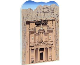 Wooden replica of The Treasury in Petra, Jordan that you can add to your home decor to remind you of your trip. Handcrafted in the USA by The Cat's Meow Village.