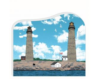 """Colorful & detailed replica of Cape Ann Light Station Twin Lights, Rockport, MA. Handcrafted in the USA 3/4"""" thick wood by Cat's Meow Village."""