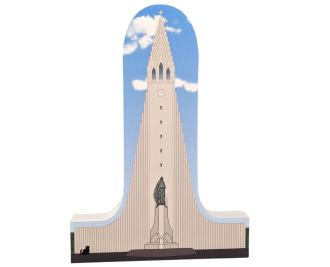 Wooden replica of Hellgrimskirkja Church, Reykjavik, Iceland to add to your home decor. Handcrafted by the Cat's Meow Village in the USA.