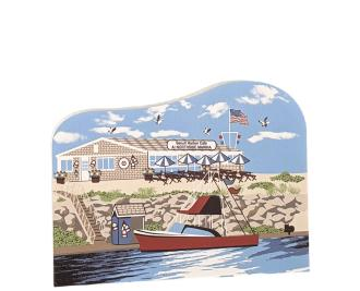 Replica of Sesuit Harbor Cafe in Dennis, Massachusetts handcrafted by The Cat's Meow Village in the USA.