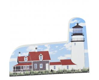 "Replica of the Highland or better known as the Cape Cod Lighthouse at North Truro, Cape Cod, Massachusetts. Handcrafted in 3/4"" thick wood by The Cat's Meow Village in Wooster, Ohio."