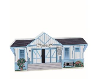"""Wooden replica of Patty's School of Ballet, Stars Hollow, Gilmore Girls, handcrafted in 3/4"""" thick wood by The Cat's Meow Village in the USA."""
